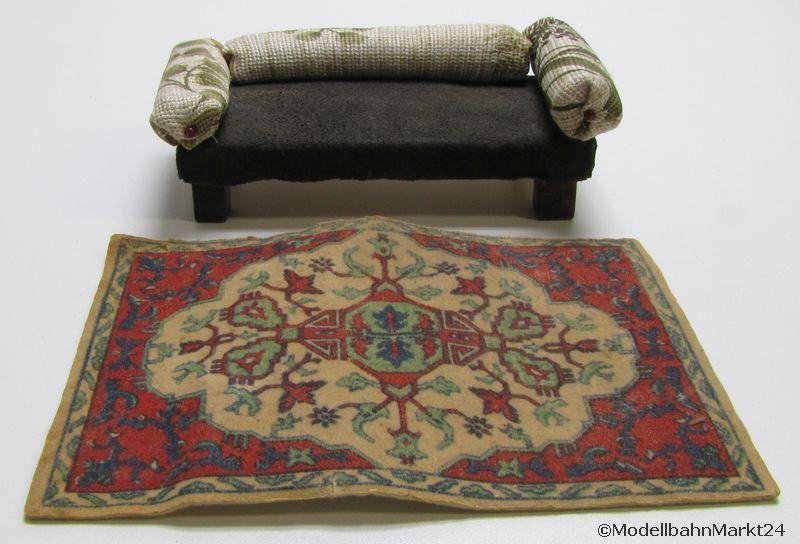 puppenhaus couch sofa und teppich wohnzimmer ebay. Black Bedroom Furniture Sets. Home Design Ideas